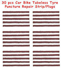 30 X Tubeless Tyre Puncture Repair Strips / Plugs for Car / Bike Use With Kit