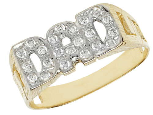 9k Yellow Gold Men Dad//Father Ring with Cubic Zirconia//CZ 205442U