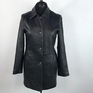 Kvinder Jakke Lille Sort Blazer Colebrook Læder Klassisk Vintage Frakke Størrelse REqwTdBx