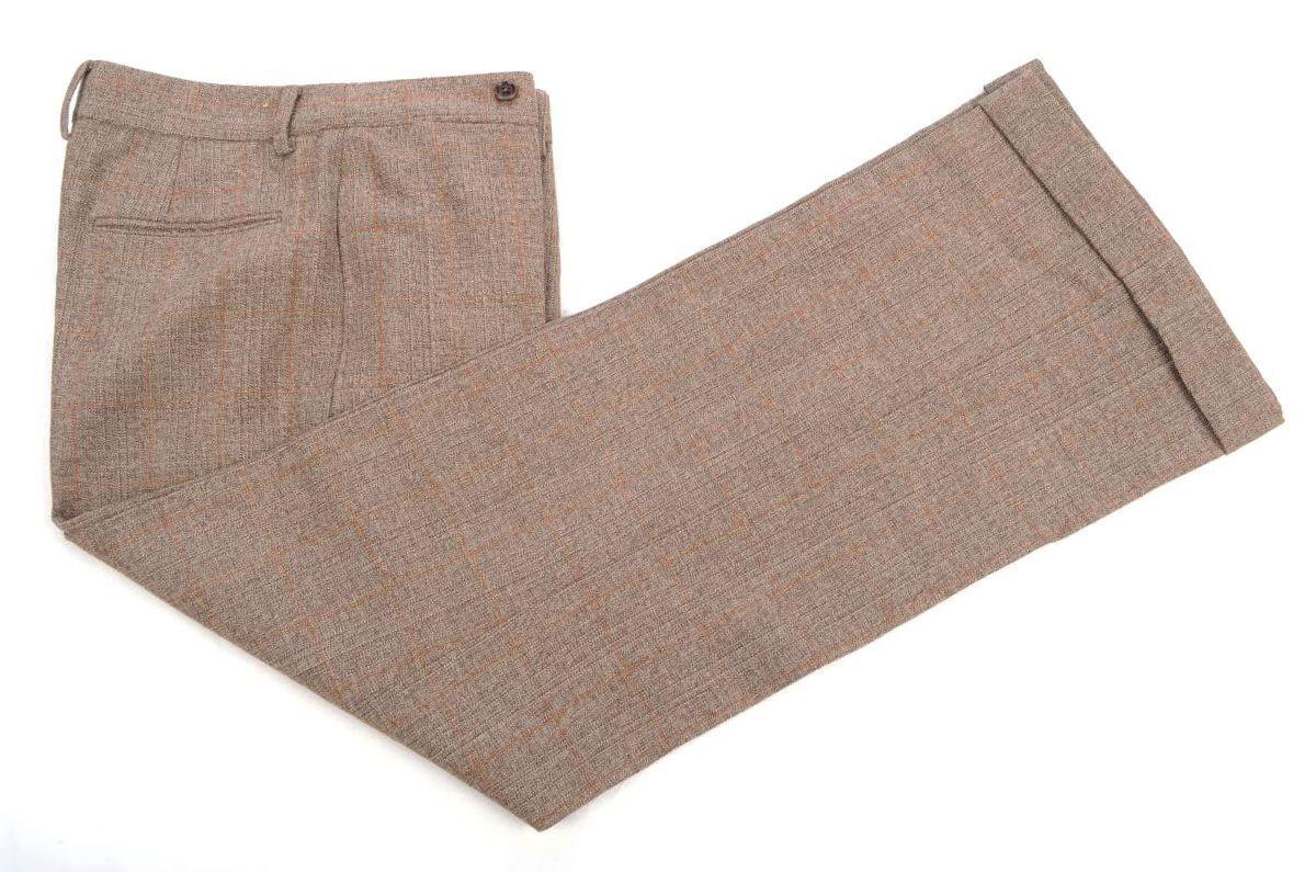 RRL RALPH LAUREN Brown Plaid 100% Wool Womens Flat Front Pants Trousers - 4
