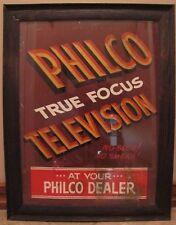old 1950's PHILCO True Focus TELEVISION Advertising Sign framed No Blur No Smear