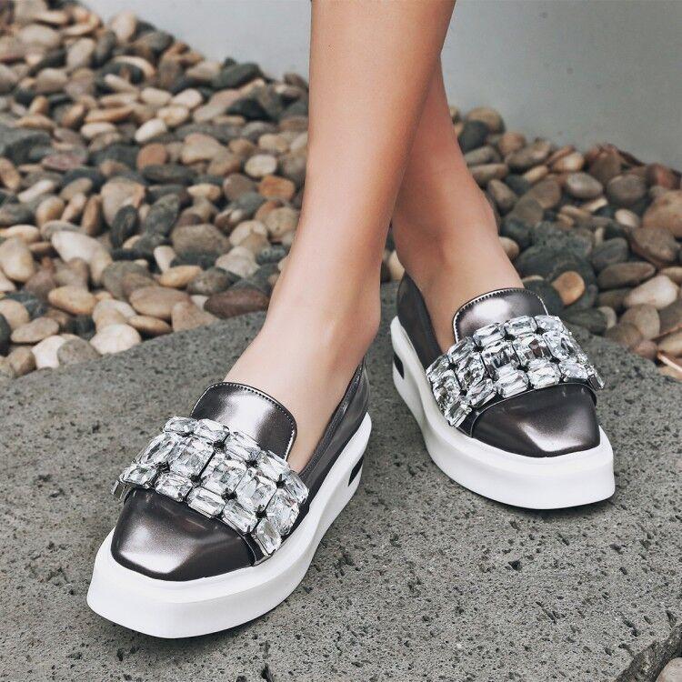 Women's Flat Fashion Sneaker Rhinestone Comfort Athletic Causal Slip On Outdoor