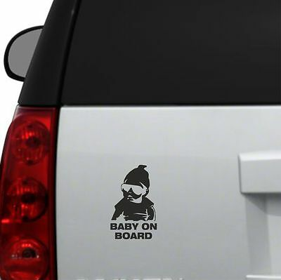 "16x10cm BLACK BABY ON BOARD COOL DECAL WINDOW CAR TRUCK STICKER M1 6 1//2/""x4/"""
