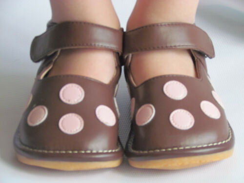 Up to Size 7 for Toddlers Brown with Pink Dots Toddler Shoes Squeaky Shoes