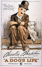 Charlie Chaplin 'A Dog's Life' 1918 Classic Repro Silent Movie Poster