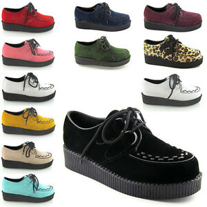 New-Ladies-Platform-Lace-Up-Womens-Flat-Creepers-Goth-Punk-Shoes-Size-3-8