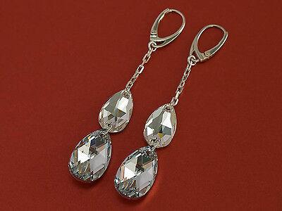 GENUINE SWAROVSKI CRYSTAL LONG EARRINGS 2,95in - PEAR 925 sterling silver
