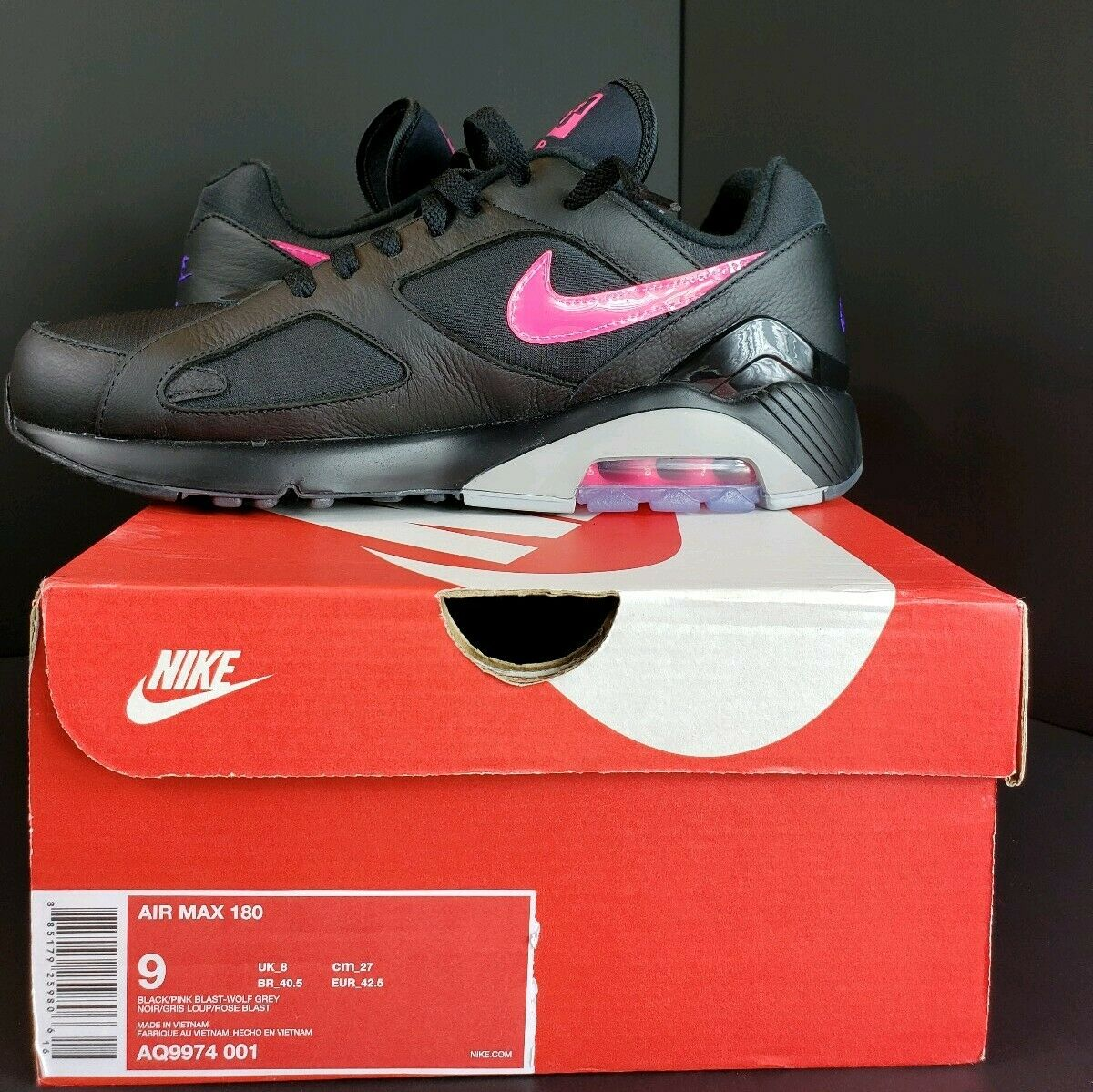 Men's Nike Air Max 180 Item Number AQ9974-001 Size 9 Black Pink and Purple