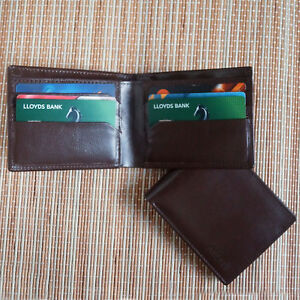 a68663b829 Details about Full Grain Real Leather Bifold Wallet Credit Card Holder  Genuine Leather Wallet