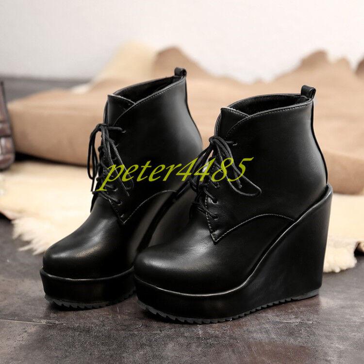 Platform High Wedge Talons Mode Cheville Bottes en Cuir à à à Lacets Femmes Chaussures Décontractées 74082c