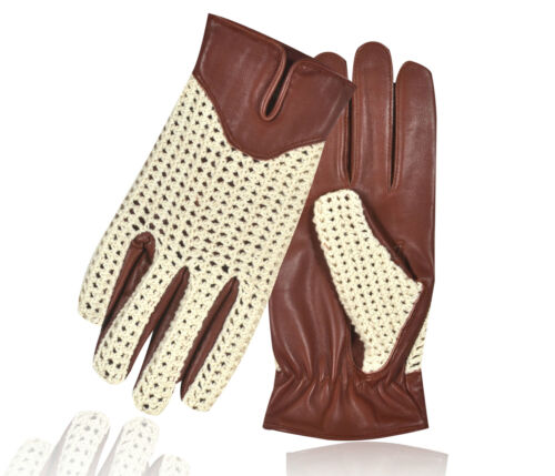 Cotton Crochet Chauffeur Driving Gloves Fashion Sheep Leather Driving Vintage