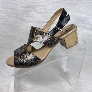 Spring-Step-Women-s-Slingback-Sandals-Black-Floral-size-40-US-9-New