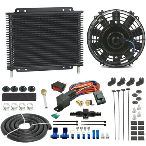 TRANS-MISSION OIL COOLER ENGINE FAN 6AN AN6 IN-LINE HOSE THERMO-STAT SWITCH KIT