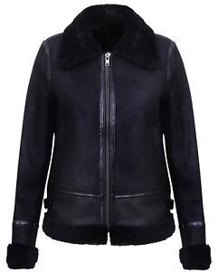 Women-039-s-Black-Real-WW2-Shearling-Sheepskin-Aviator-Pilot-Leather-Biker-Jacket