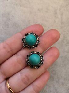 Vintage Artisan Navajo Native American Turquoise Sterling Silver Screw Earrings