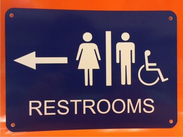"Business Men Women Restroom Polystyrene Sign 7/""X10/"""