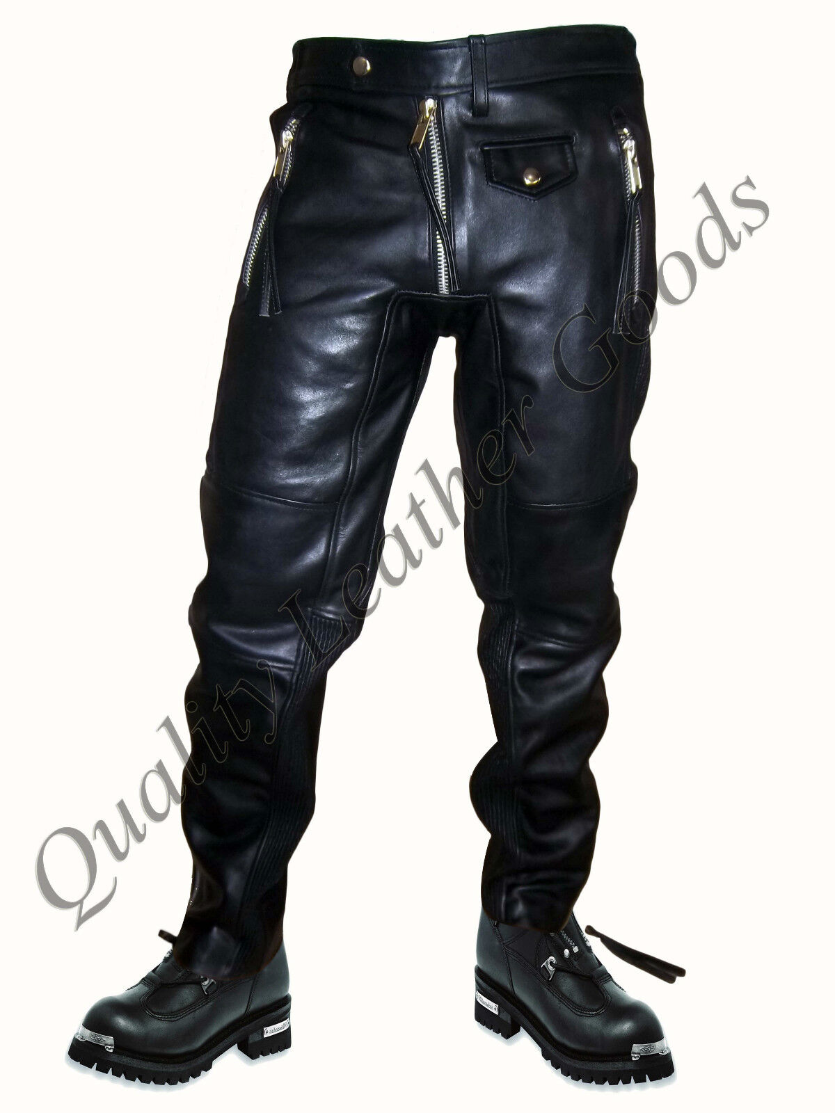 PREMIUM SYNTHETIC LEATHER MENS JEANS WITH SPANDEX PANTS TROUSERS BIKER blueF