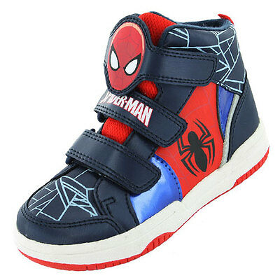 Boys Size 7 - 1 Navy Blue Red SPIDERMAN Velcro Hi Top Trainers Boots NEW