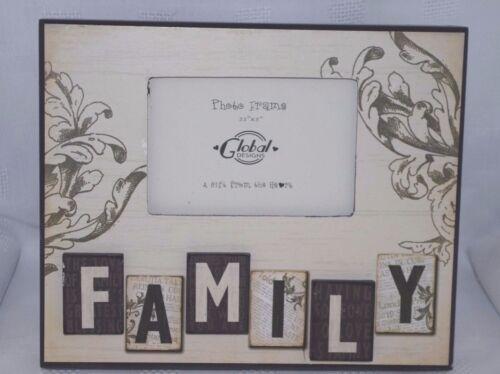 """Famille Cadre Photo en Bois Crème Noir Photo Rétro 3D Lettres 3.5x5/"""" SG1461"""