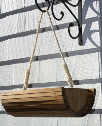 hanging wood wooden Garden Porch Planter Rustic Half moon bucket stained-natural