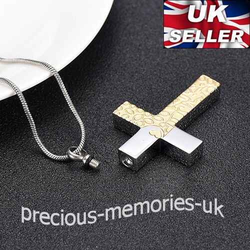Gold Cross Cremation Ashes Urn Pendant Memorial Jewellery Keepsake Necklace