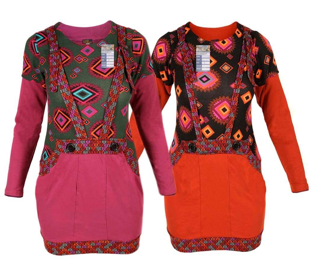Strapse langärmliges Kleid mehrfarbig Rundhals Psychedelische Hippie Boho
