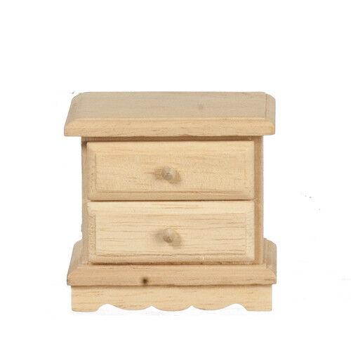Bare de bois De chevet Meuble avec deux ouverture tiroirs maison de poupées miniature