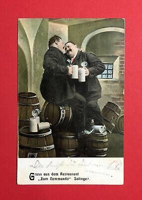 48617 Durch Wissenschaftlichen Prozess Deutschland Reklame Ak Solingen 1908 Restauration Zum Commando Bier Bierkrug Bierfass
