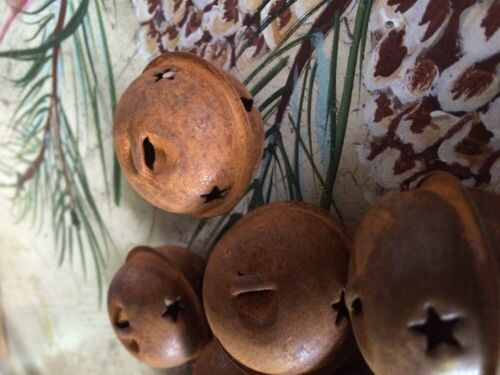"""SET OF 20 JINGLE BELLS 1.5/"""" 1 1//2 in Primitive Rusty Tin 38mm Christmas Crafts"""