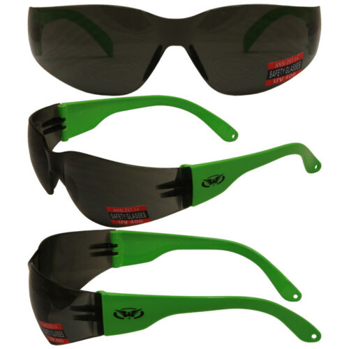 RIDER WRAP AROUND SAFETY GLASSES SHATTERPROOF SMOKE LENS by GLOBAL VISION