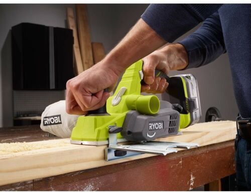 3-1//4 in Ryobi Cordless Planer Woodworking 18-Volt ONE Blades Wrench Dust Bag
