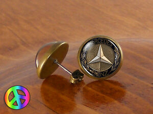 Mens stud earrings studs mercedes benz vintage antique for Mercedes benz earrings