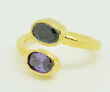 Ottoman Gems semi precious gem stone ring gold plated stacking crystal snake
