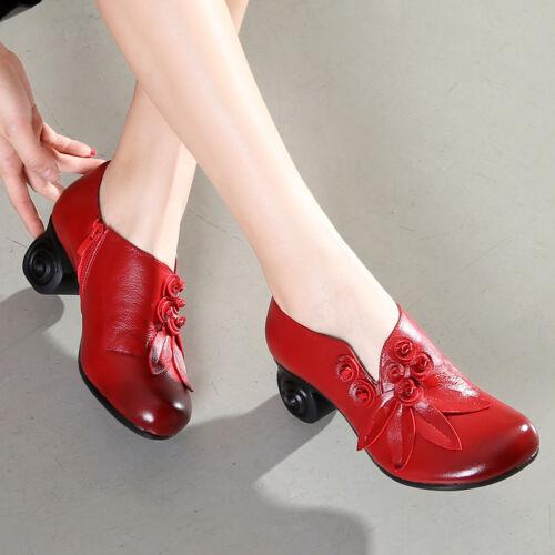 des femmes de véritable Dames D44 cuir à fond chaussures de bout rond Chunky mou cru fleur en hQrdts