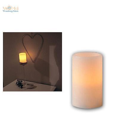 LED Kerze im Echtwachs-Mantel 12x7,5cm, flammenlose Wachs Kerzen flackernd LEDs