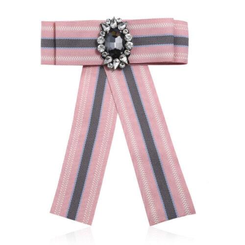 Women Satin Crystal Pearl Striped Ribbon Brooch Pin Necktie Dress Collar Bow Tie