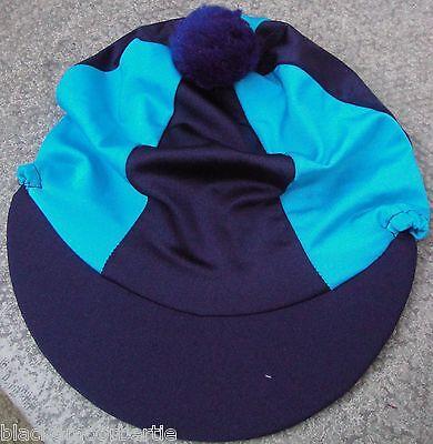 Equitazione Cappello Seta Skull Cap Coperchio Navy Blue & Turchese Con O W/o Pon Pon-