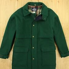 vtg usa made WOOLRICH wool coat jacket parka LARGE green warm winter