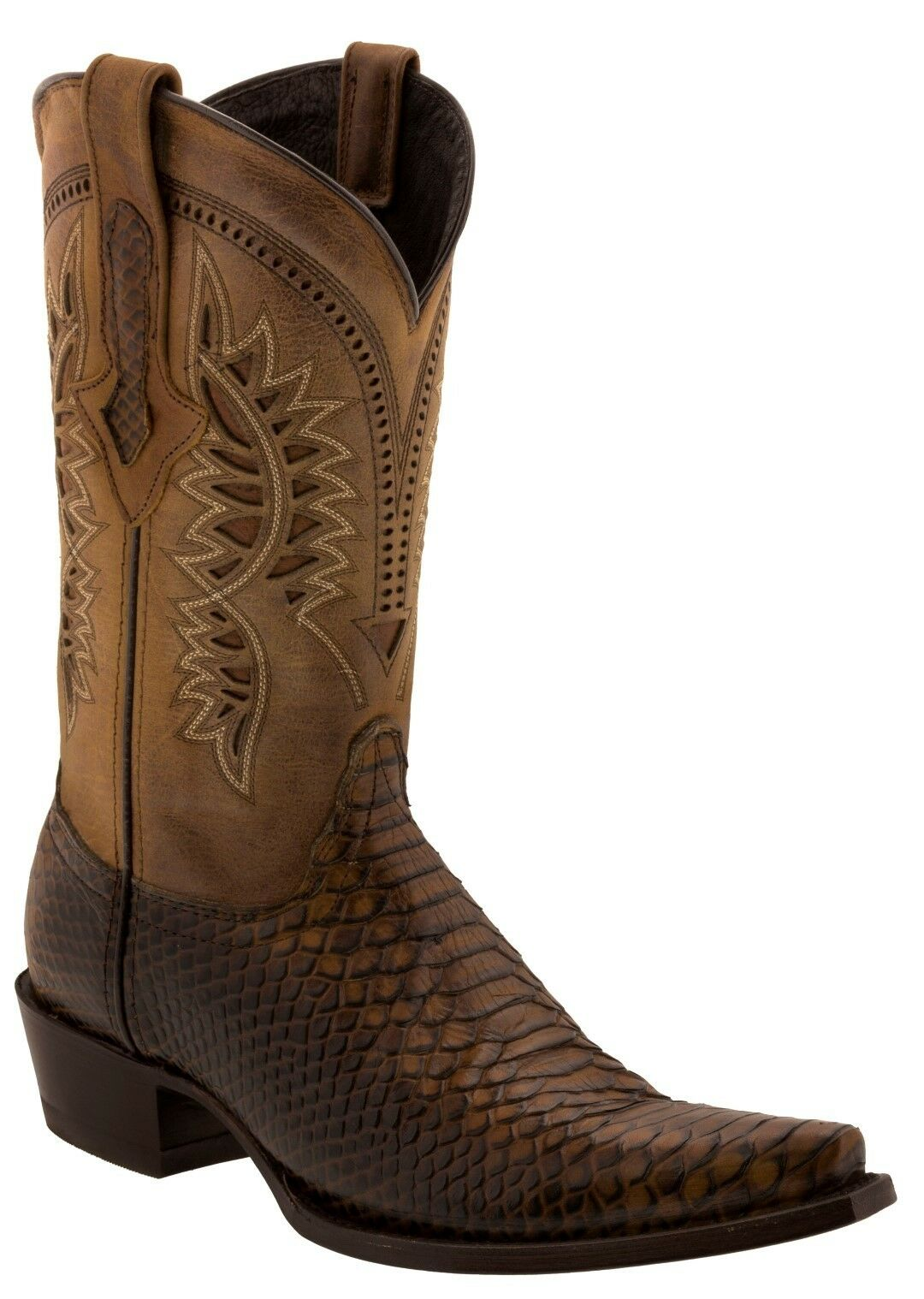 Mens Honey braun Python Leather Cowboy Stiefel Snake Print Western Western Western Pointed Toe 596b2b