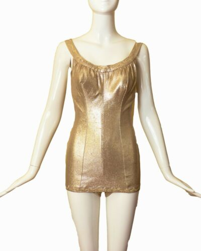DEWEESE - 1950s Metallic Gold Lamé Knit Bathing Su