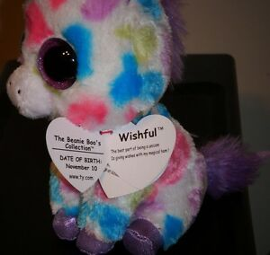 062aa13286b NMT  Ty Beanie Boos ~ WISHFUL the Unicorn (Red Tag with ERRORS)(6 ...