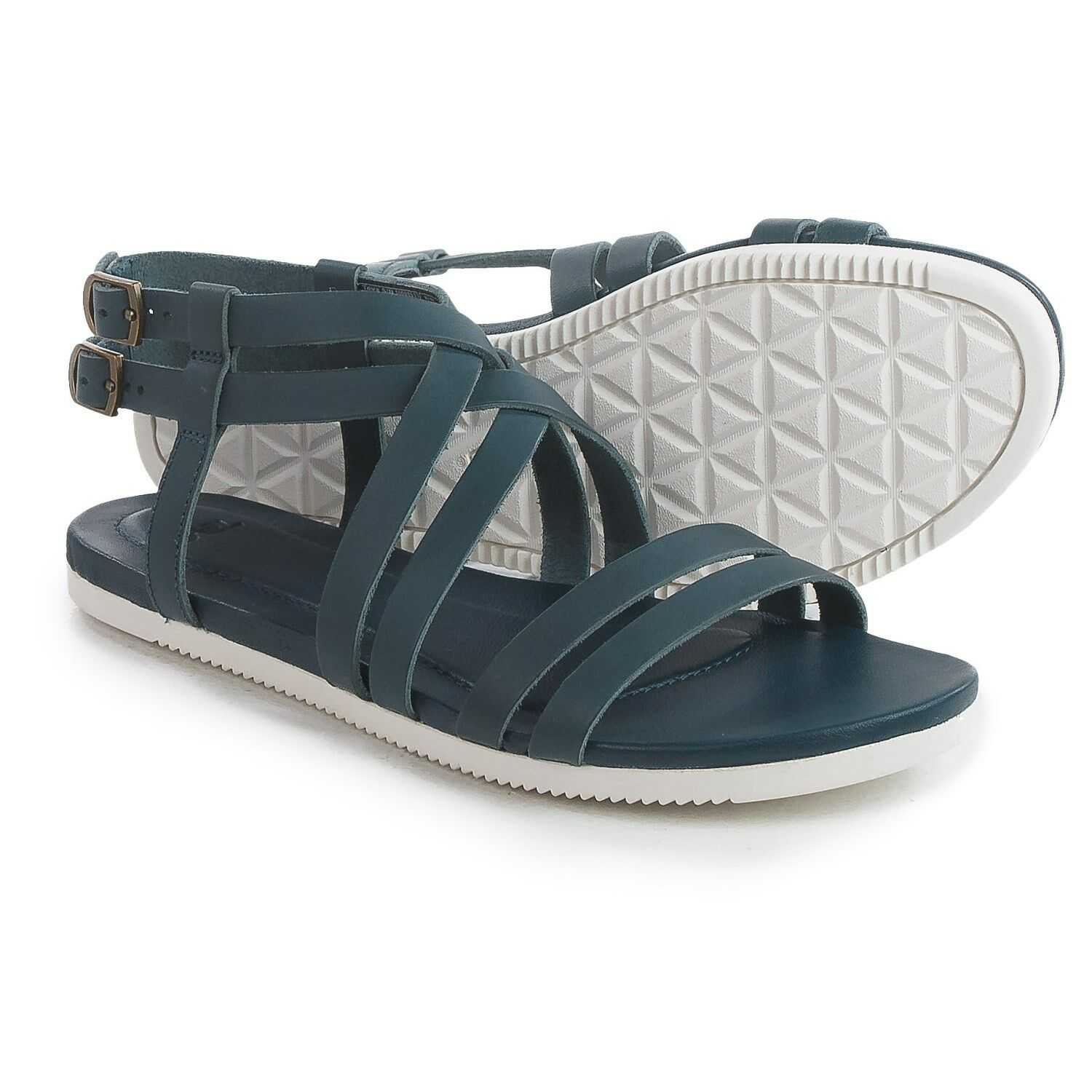 NEW TEVA 8 SANDAL FLIP FLOPS SHOES Leather $90 Retail Avalina Crossover Blue