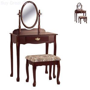 Cherry Vanity Table Set Mirror Stool Wood Bedroom Furniture Tables