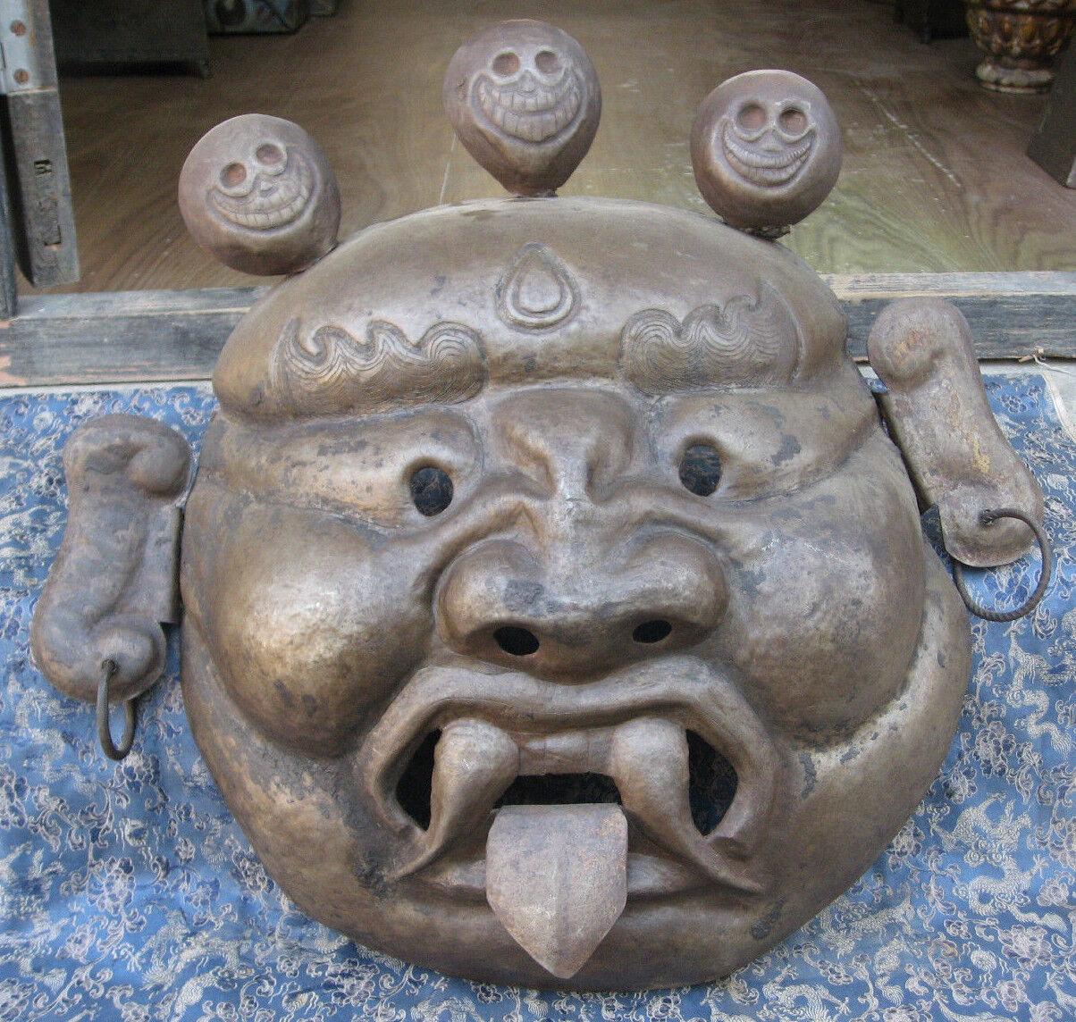 Antico Intagliato a Mano Ferro Tibetano Tantrik Maschera, Nepal