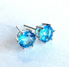 White Gold Plated Aqua Sea Blue Simulated Diamond Men Boy Stud Earrings 6.5mm