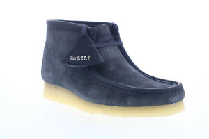 Clarks Wallabee Boot 26155048 Mens Blue Suede Lace Up Chukkas Boots