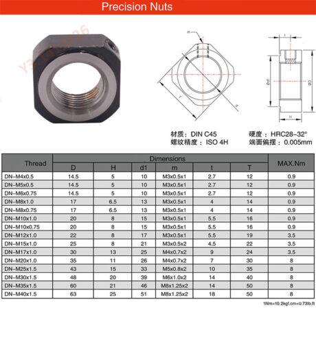 1xDN Precision Ball Screw Bearing Holder Square Lock Nut M6~M35 inner Copper Pad