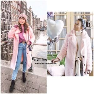 bf457491776 Sale_NWT ZARA AW17 LIGHT PINK LONG COLOURED FAUX FUR COAT 8491/271_S ...