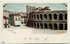 1903 Verona - Vista esterna dell'Arena di Verona, case - FP COL VG