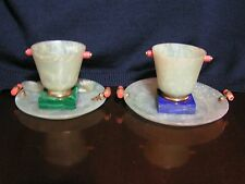 JADE CUPS MOUNTED ON LAPIS & MALACHITE STANDS WITH CORAL & SEMI-PRECIOUS STONES